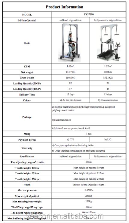 Deficientes andando fitness equipment/walking formação Elétrica quadro de unweighting sistema