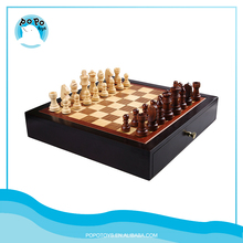 Educational Toys Wooden Chess Set Storage Drawer with playing pieces