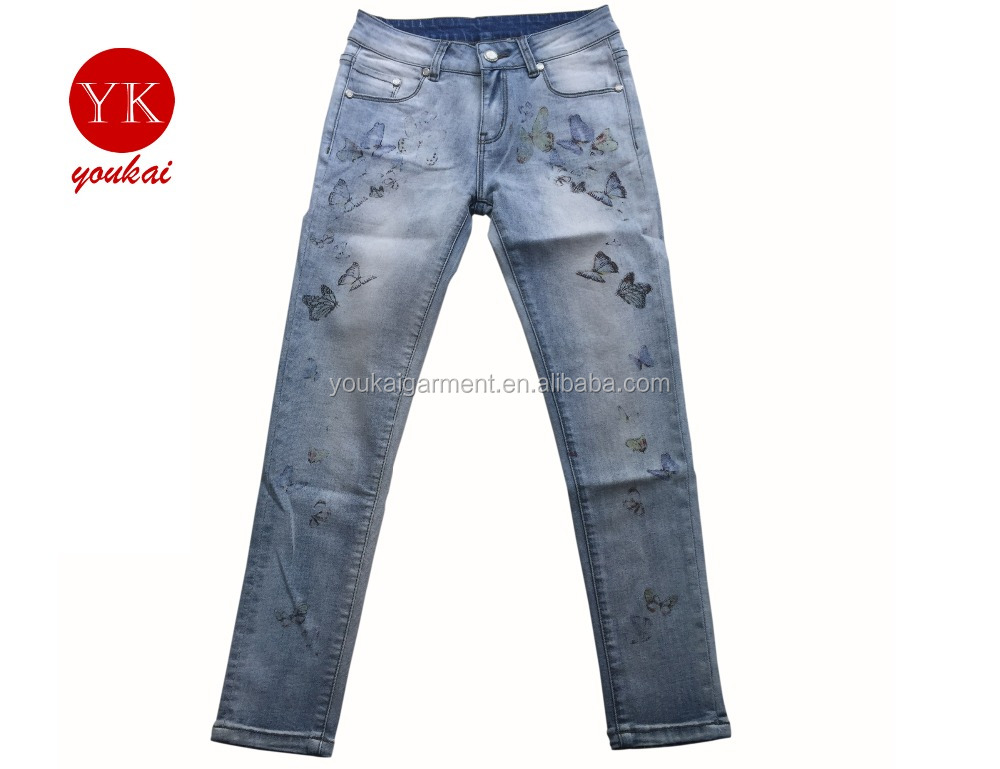 Lastest design women colorful printing skinny jeans,ladies cotton stretch jeans,girls light bleach wash jeans