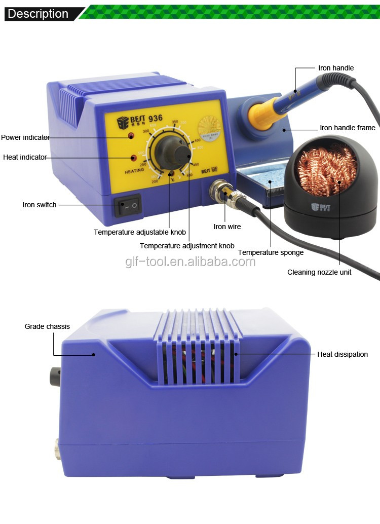 BST-936 Intelligent Lead-free quick soldering rework station 936