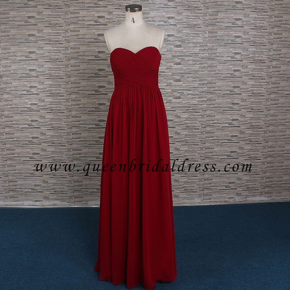 Sexy strapless sweetheart neckline chiffon floor length bridesmaid dress