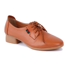 Hot Sale Comfortable Genuine Leather Upper Rubber Sole Link Wholesale ladies Flat casual shoes with Laces