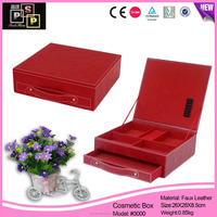 Fashionable leather makeup box luxury customized foldable cosmetic box with drawer