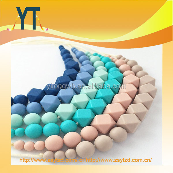 2017 High quality cheap baby silicone teething necklace wholesale