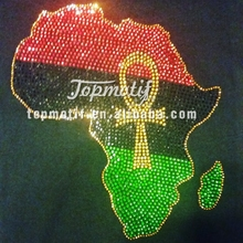 african flag bling rhinestone transfer design wholesale in China