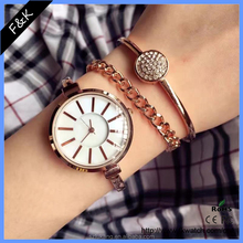 Fashion style fancy plated gold quartz watch bracelet watch slim