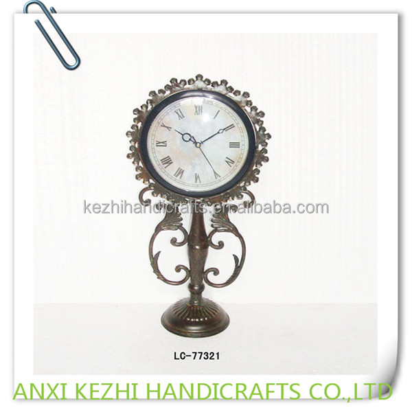 decorative metal standing table clocks