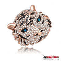 LZESHINE 2016 New Develop Noble 18K Rose Gold Plated And Pave Austrian Crystals Tiger Shape Elegant Men Rings Ri-HQ0177