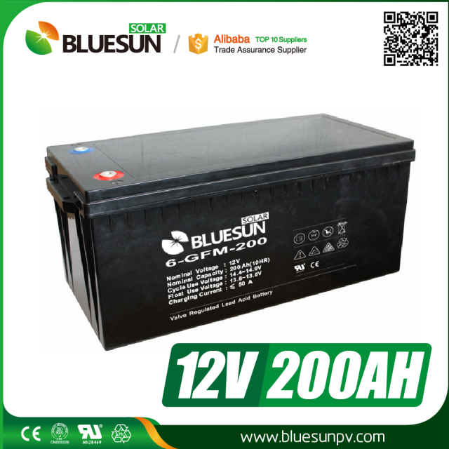 Bluesun Cycle life 500times 12V 200ah AGM <strong>batteries</strong> for solar system 10kw