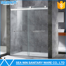 304 Stainless steel safety 8mm tempered glass sliding shower door double pivot shower screen in shower rooms
