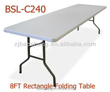 cheap white 8ft plastic rectangle folding table, (blow mould, HDPE, outdoor,banquet,camping)