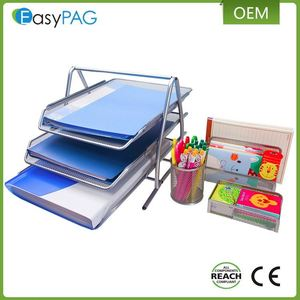 2016 Latest Factory Price Office Stationery Iron Mesh Desk 4 in 1 Holder Organizer Set