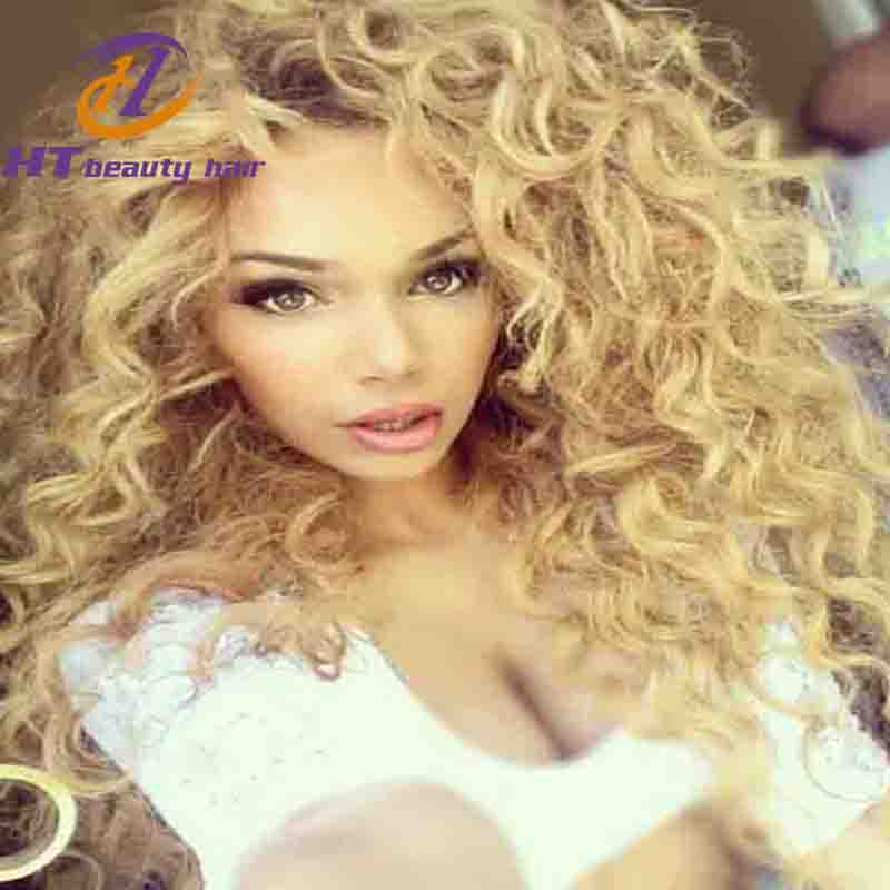 Wild Untamed Wavy Blond Wig Human Hair 150% Density 613 Glueless Blonde Full Lace Deep Wave Wig for HT B eauty Hair