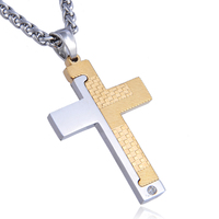 Hot Design Stainless Steel Jewelry Gold Plated Double Color Cross Pendant