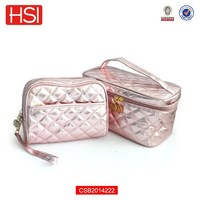 shinning leather travel large cosmetic case with handle