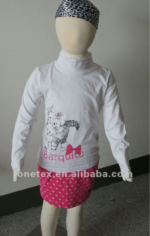 Girl's High collar long-sleeved T-shirt