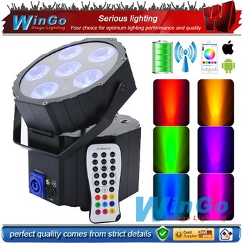 Battery operated par 6X15W RGBWA5 in 1 battery powered wireless dmx led uplighting for wholesale