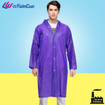 durable long to knees pvc vinyl raincoat with hood and buttons