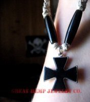 Hemp Necklace with black independent cross pendant bead drop