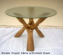 Wooden Tripod Stand/ Cobra Stand/ Wooden Table w/Glass top