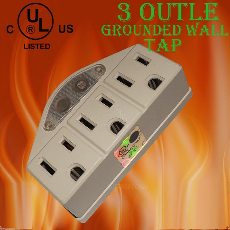 UL Listed Beige 3 Outlet Grounded AC Power Sensor Night Light Wall Tap Adapter