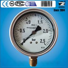 100mm 4 inch half stainless steel pressure gauge with liquid filled SS316 bourdon tube and brass connection