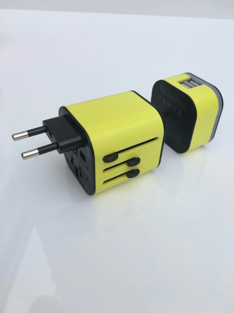light logo Universal Travel Adapter with 2 usb