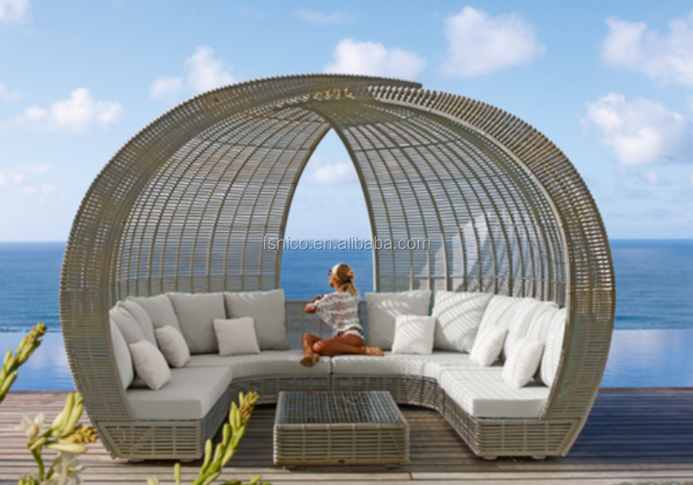 Wicker canopy bed Outdoor Sunbed