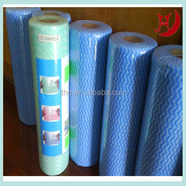 Smooth lapping wave spunlace nonwoven fabric for compressed pads 38G--100G
