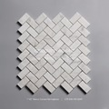 25x48mm Polished Bianco Carrara White Marble Herringbone Mosaic Tile