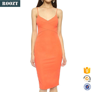 Lady fashion clothes party bodycon spaghtti strap dress women