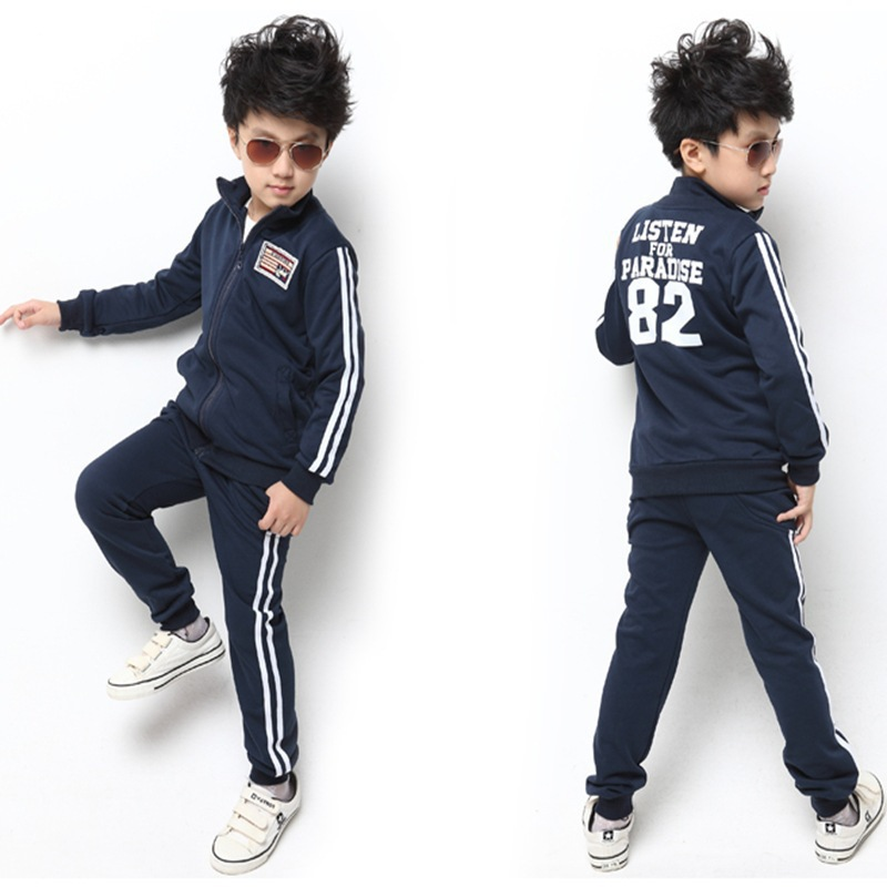 Children's Spring and Autumn casual sports clothes suit boys and girls children Korean wave long-sleeved two-piece baby clothes