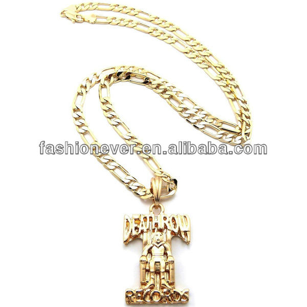 Hip Hop Shiny Colors Death Row Records Pendant With Figaro Chain Necklace