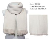 one color acrylic knit scarf women winter warm college girls clothing scarfs