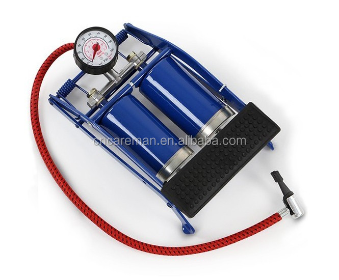 High Pressure Double Barrel Twin Cylinder Foot Air Pump Inflator for Bike/Bicycle/Automobile/Car/Van Tyres OEM Orders Accepted