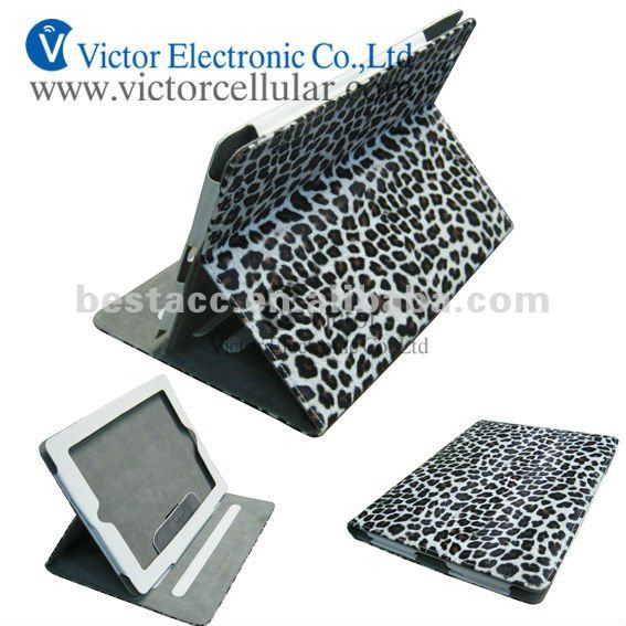 Luxury Leopard color Leather case for IPad 3 with stand cas
