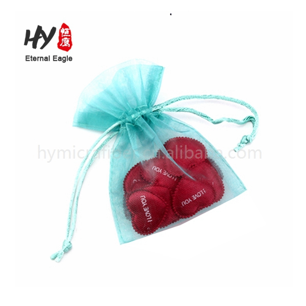 New design cosmetic drawstring pouches organza