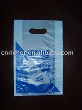 promotional custom print plastic die cut/punch bag for gift/ shopping/ garment/ shoes/electronic parts