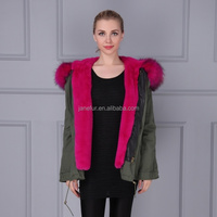 Factory price Italian design removable genunie raccoon fur trim coat with fake fur linling khaki green parka with fur hood