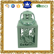 Mini small green taelight lantern metal candle holder with bird design