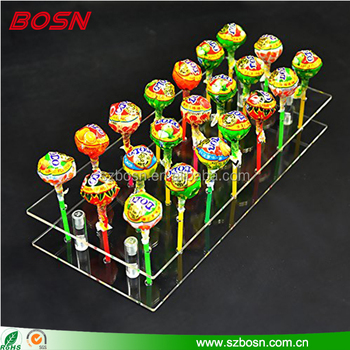 Hot sell acrylic lollipop tray lucite sugar rack plexiglass candy stand for sale
