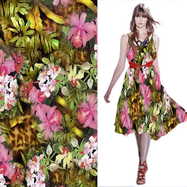 Realistic Digital Fabric Printing Cotton For Girls And Ladies