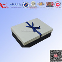2015 new bussiness style gift box with ribbon/high quality faux-wooden art paper gift box with pure ribbon