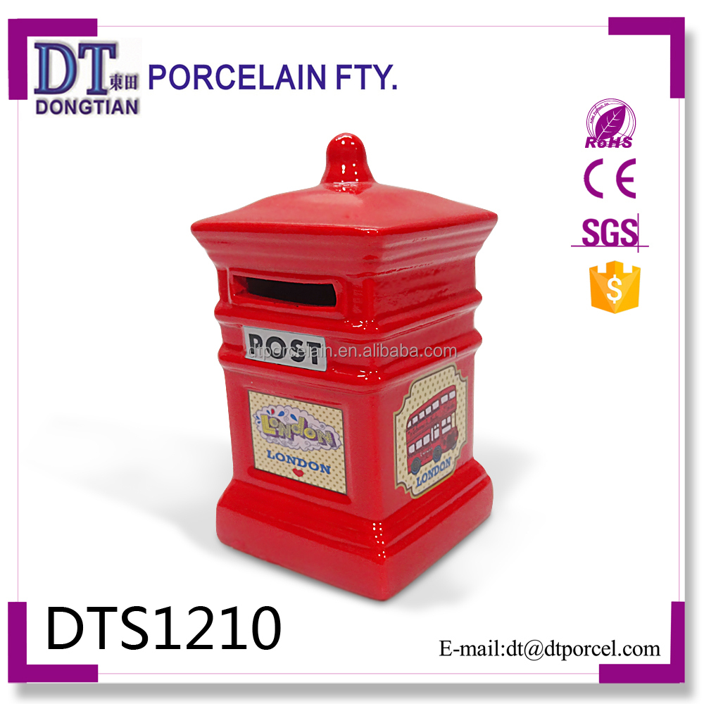 Ceramic Postbox Mailbox Coin Bank Money Saving Bank Box
