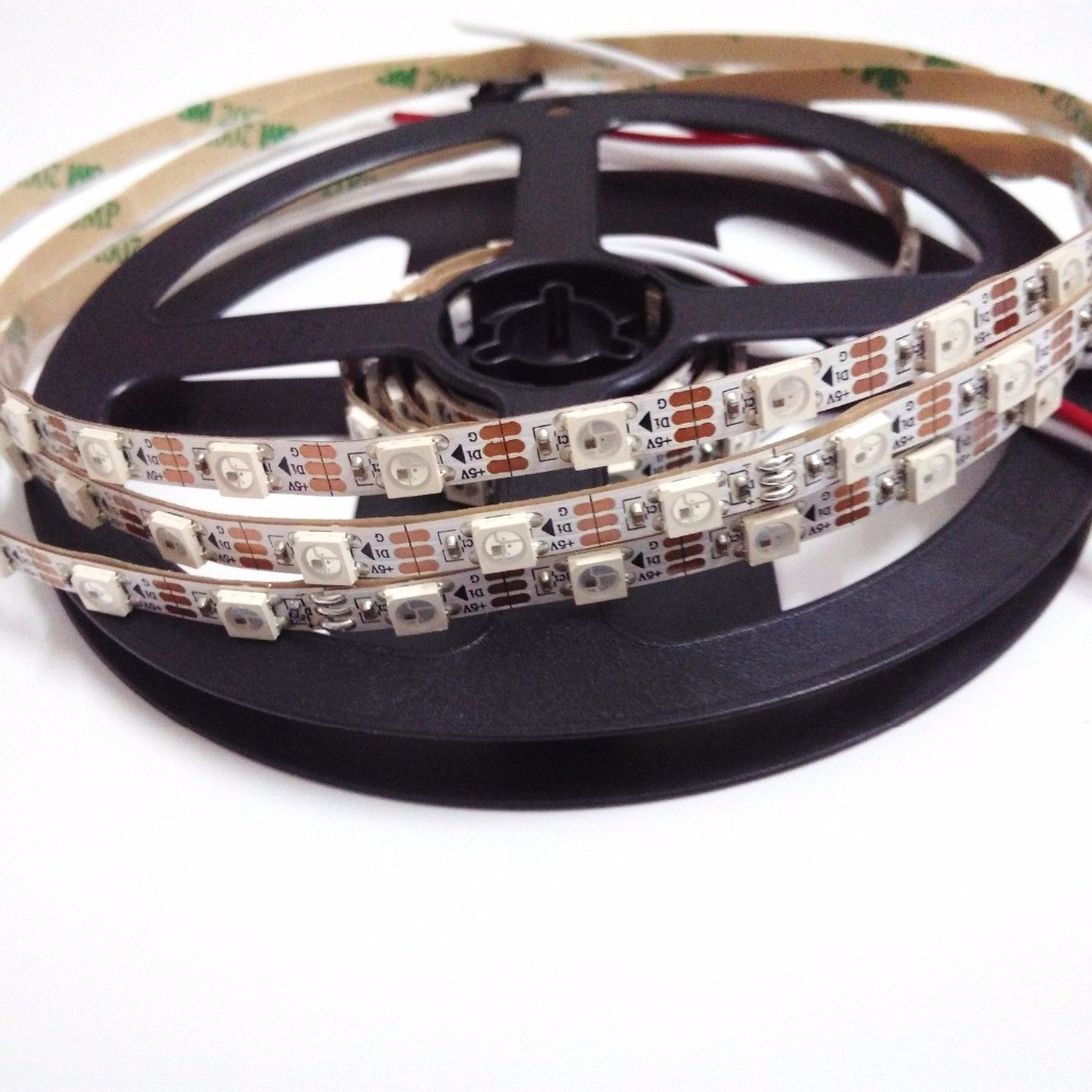 Dc5V Ws2812 Led Pixel Strip 5M Black Pcb Waterproof Individually Addressable