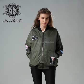 Women jacket 2016 army green nylon bomber jacket quilted print design bomber jacket