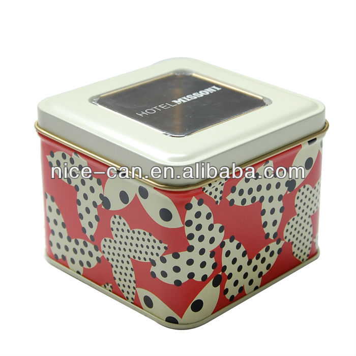 Nice-Can square tin box with clear window can see inside