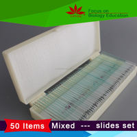 Good quality 50 slides fixed set B basic biological science education prepared microscope Slides