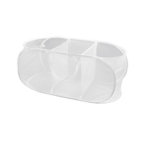 Collapsible white 3 basket laundry mesh sorter for dirty toys ties and so on