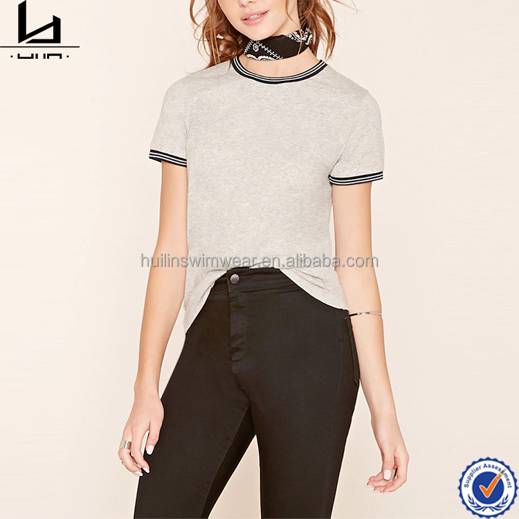 Woman comfortable cotton t shirt crew neck blank t-shirt printing with fitted trims